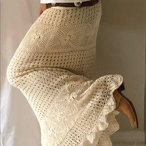 Beautiful BOHO Crochet Maxi long Skirt
